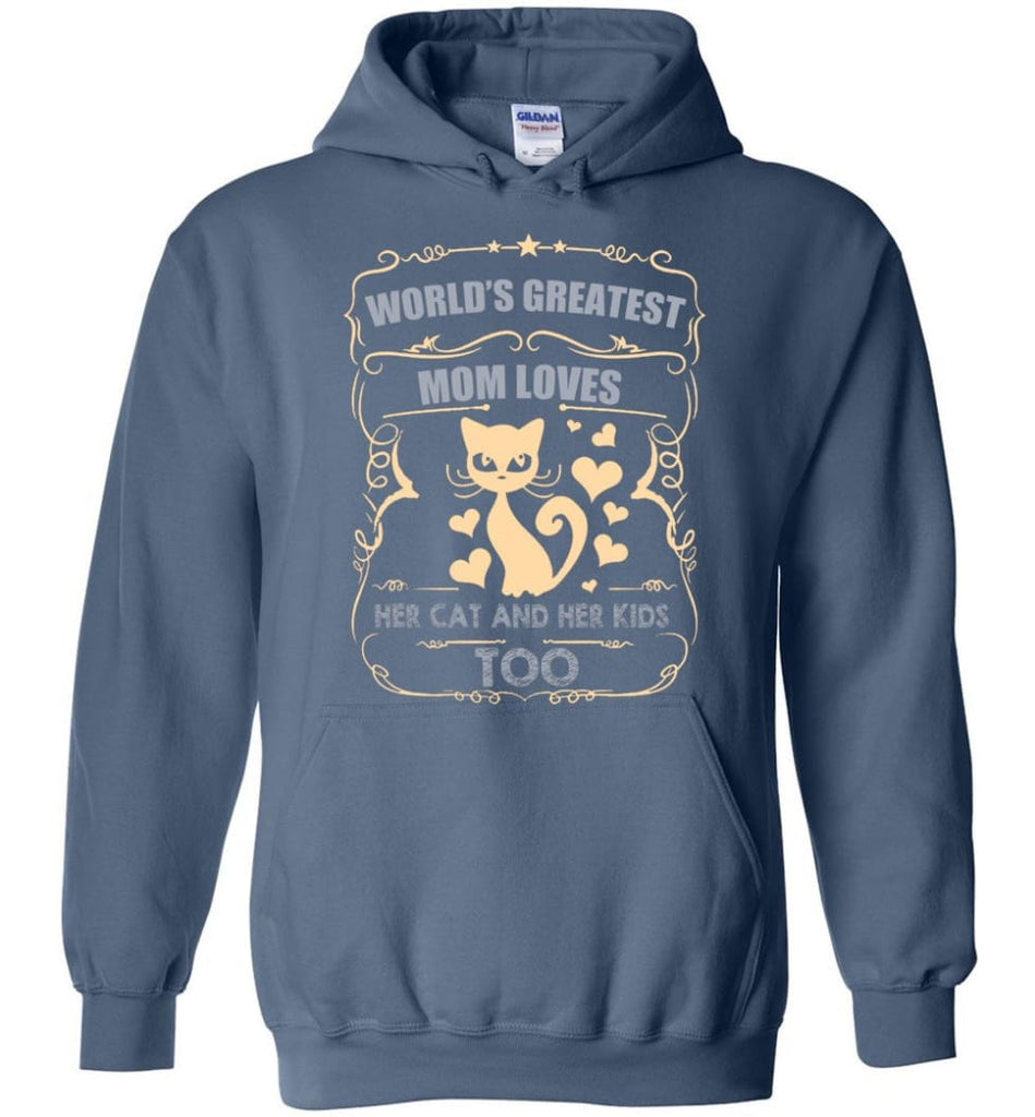 World's Greatest Mom Loves Cat and Her Kids Too Funny Cat Mom Christmas Sweater - Hoodie - Indigo Blue / M