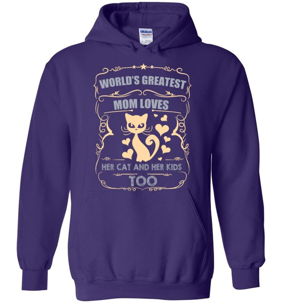 World's Greatest Mom Loves Cat and Her Kids Too Funny Cat Mom Christmas Sweater - Hoodie - Purple / M