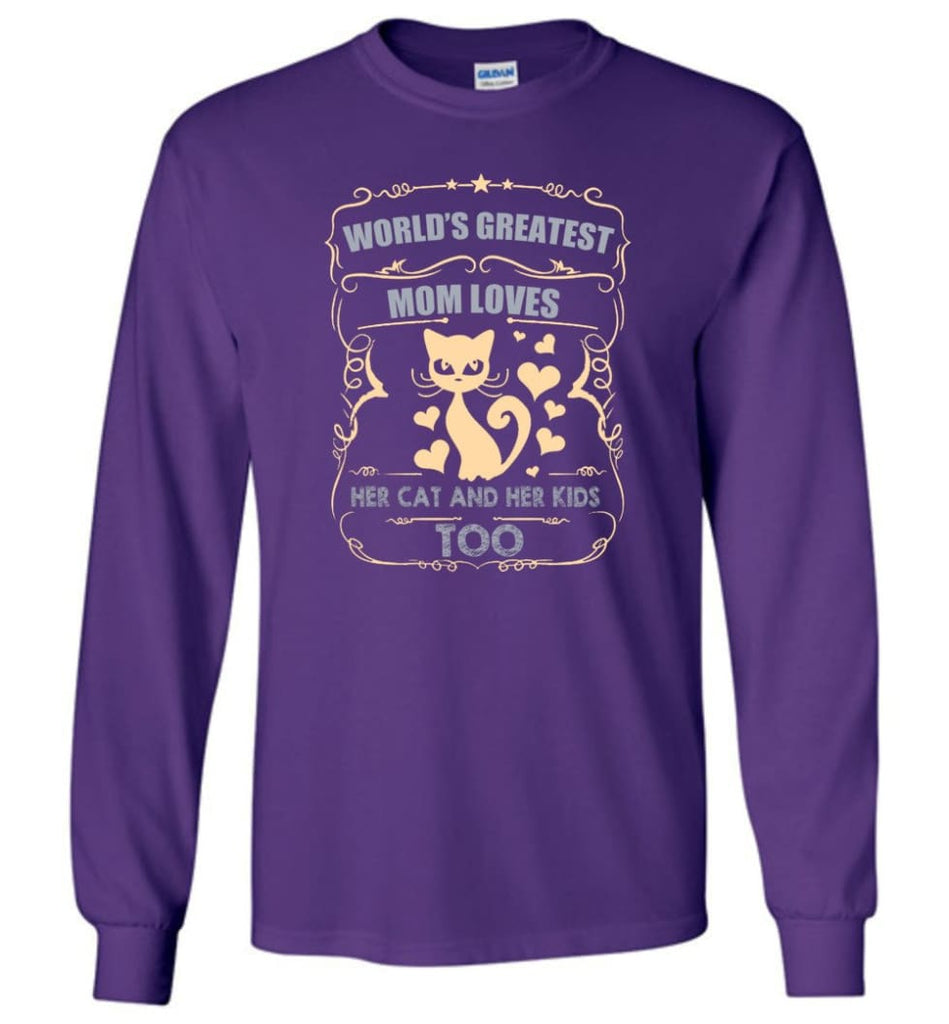 World's Greatest Mom Loves Cat and Her Kids Too Funny Cat Mom Christmas Sweater - Long Sleeve T-Shirt - Purple / M
