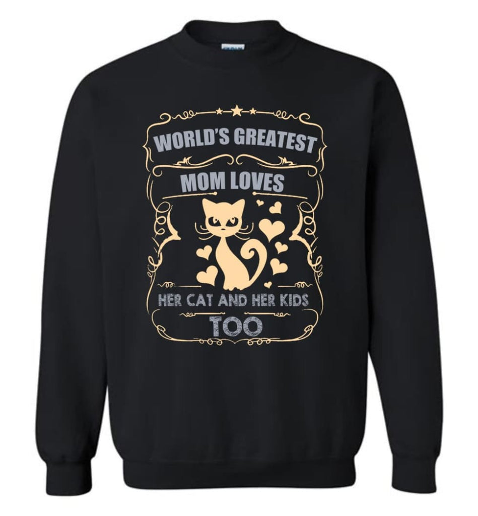 World'S Greatest Mom Loves Cat And Her Kids Too Funny Cat Mom Christmas Sweater Sweatshirt - Black / M