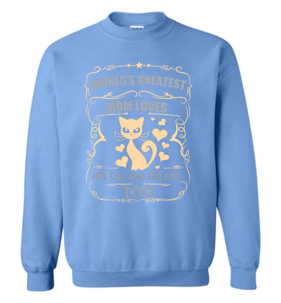World'S Greatest Mom Loves Cat And Her Kids Too Funny Cat Mom Christmas Sweater Sweatshirt - Carolina Blue / M