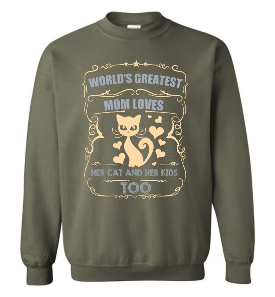 World'S Greatest Mom Loves Cat And Her Kids Too Funny Cat Mom Christmas Sweater Sweatshirt - Military Green / M