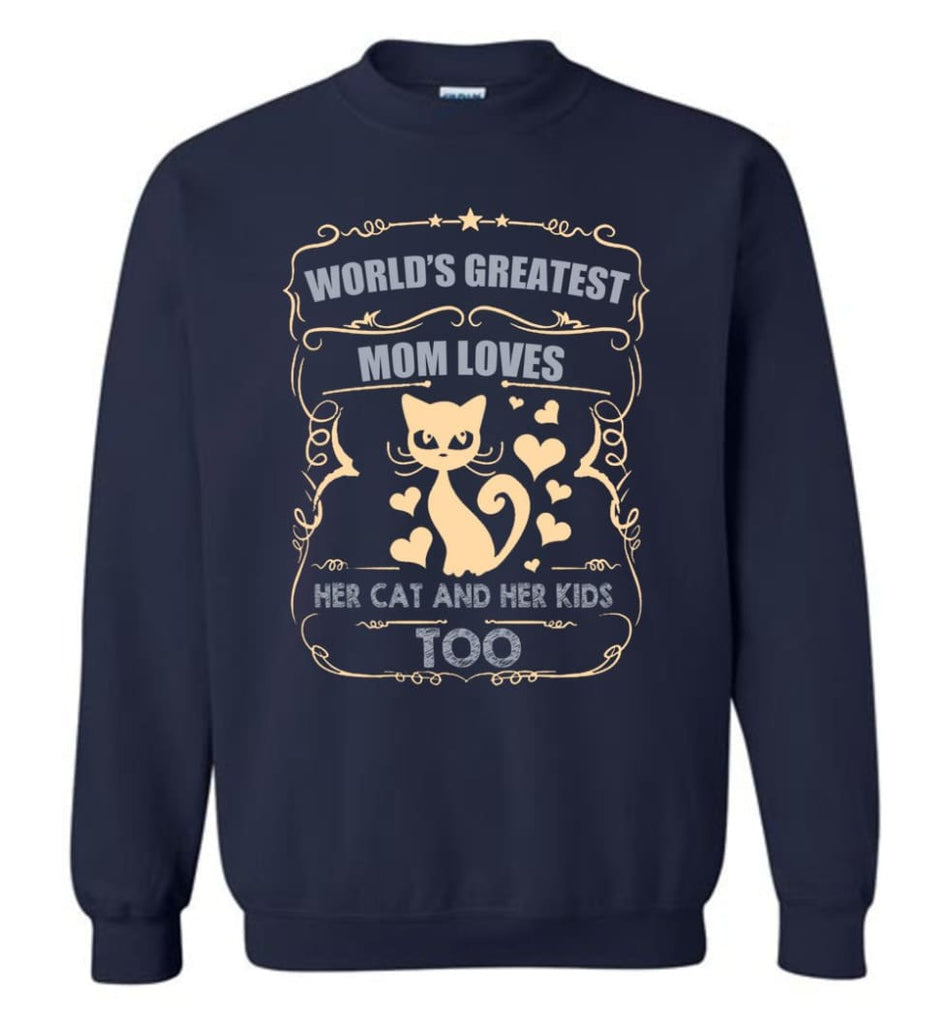 World'S Greatest Mom Loves Cat And Her Kids Too Funny Cat Mom Christmas Sweater Sweatshirt - Navy / M