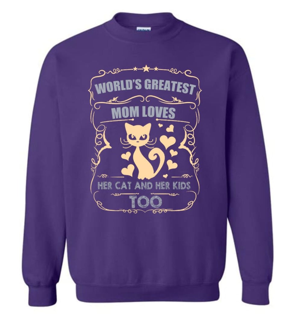 World'S Greatest Mom Loves Cat And Her Kids Too Funny Cat Mom Christmas Sweater Sweatshirt - Purple / M