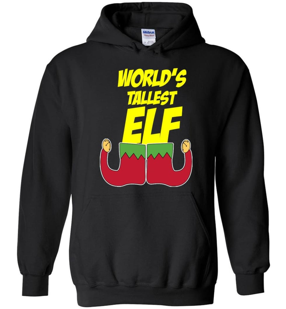World's Tallest Elf Funny Christmas Hoodie - Black / M