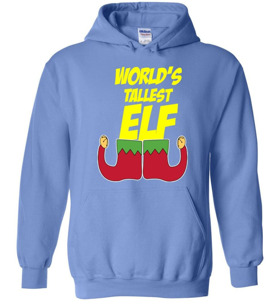 World's Tallest Elf Funny Christmas Hoodie - Carolina Blue / M