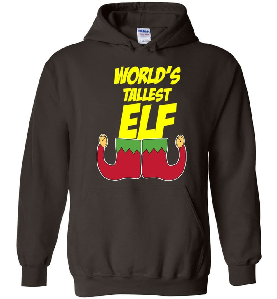 World's Tallest Elf Funny Christmas Hoodie - Dark Chocolate / M