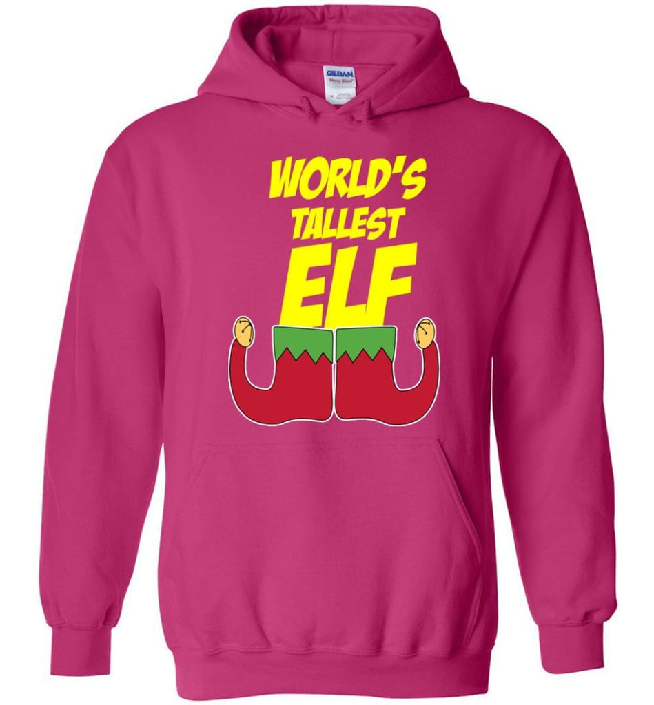 World's Tallest Elf Funny Christmas Hoodie - Heliconia / M