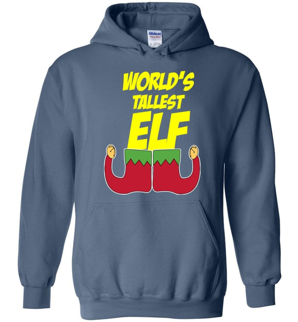 World's Tallest Elf Funny Christmas Hoodie - Indigo Blue / M