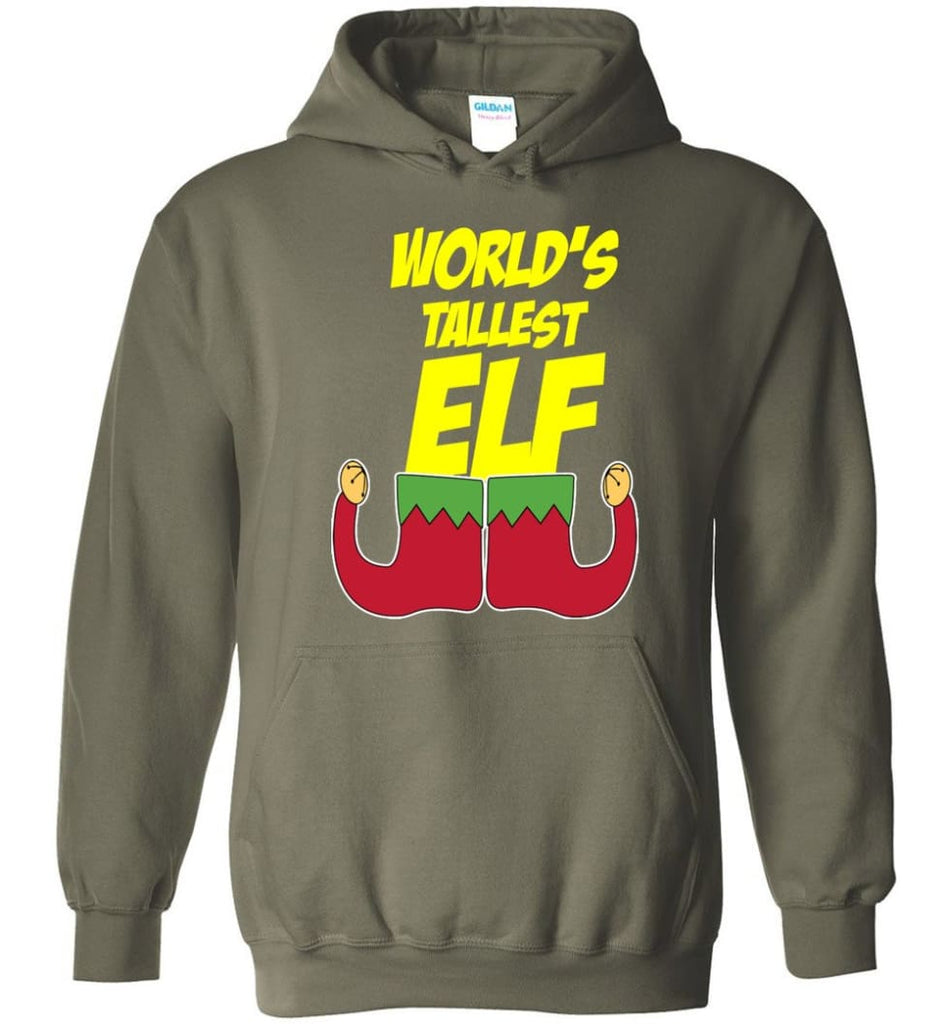 World's Tallest Elf Funny Christmas Hoodie - Military Green / M