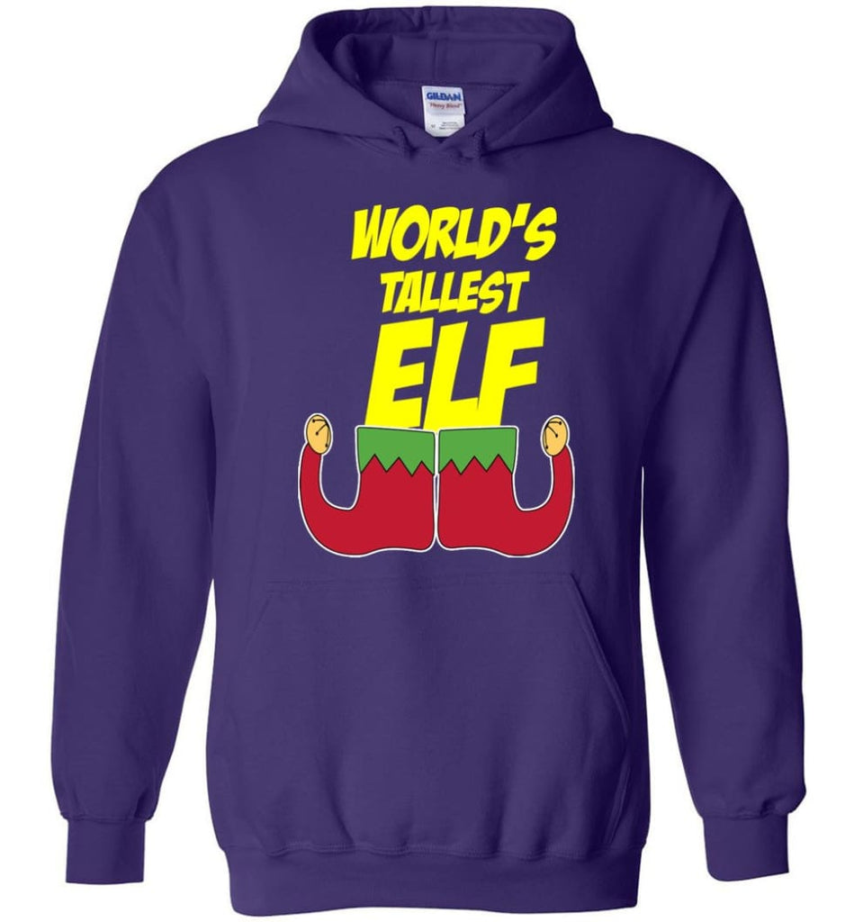 World's Tallest Elf Funny Christmas Hoodie - Purple / M