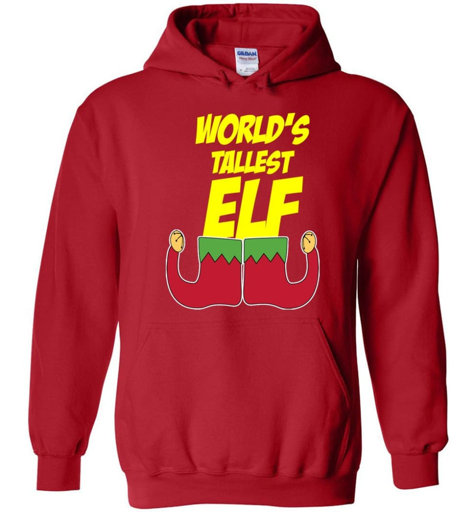 World's Tallest Elf Funny Christmas Hoodie - Red / M