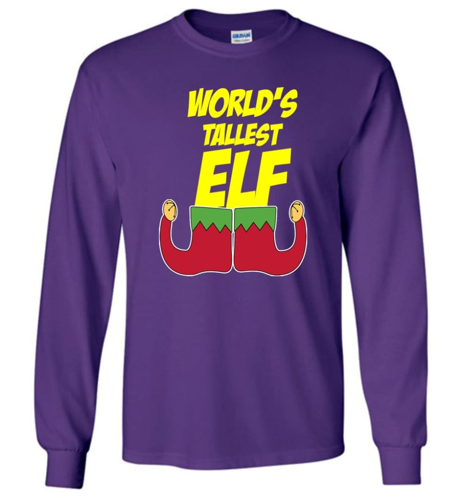 World's Tallest Elf Funny Christmas Long Sleeve T-Shirt - Purple / M