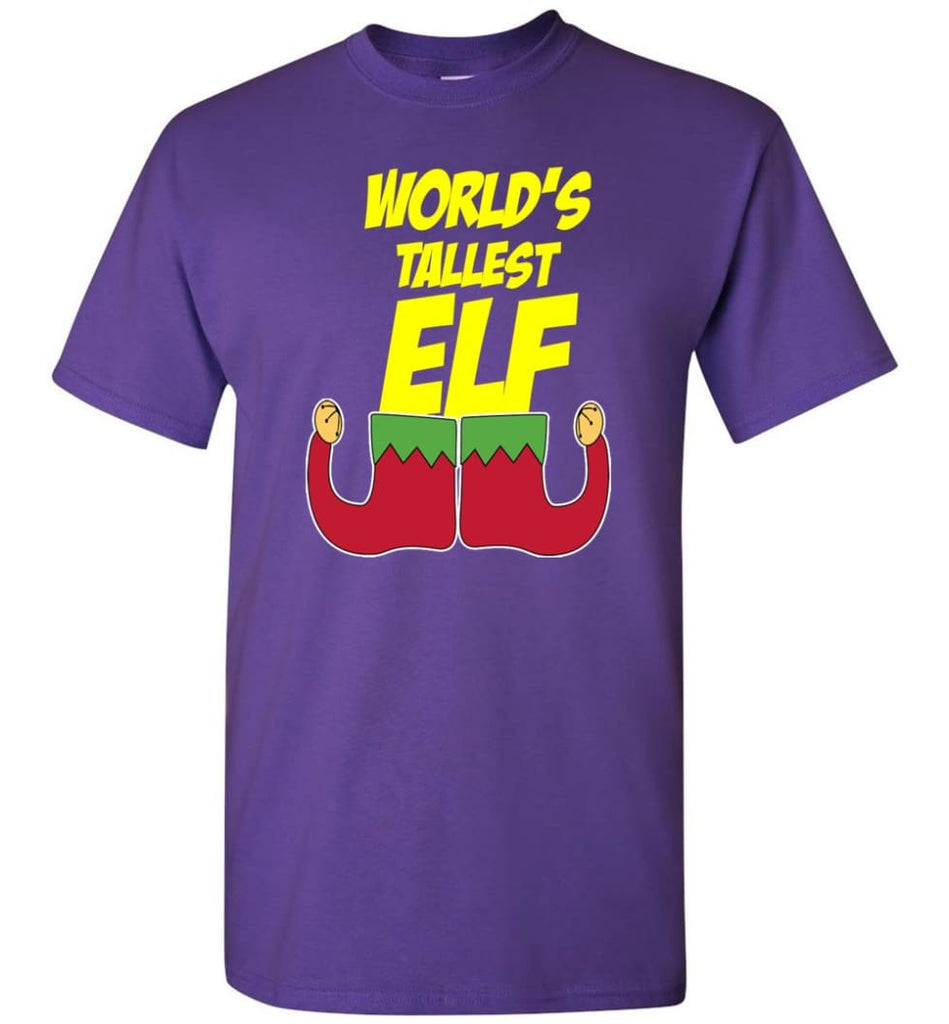 World's Tallest Elf Funny Christmas T-Shirt - Purple / S
