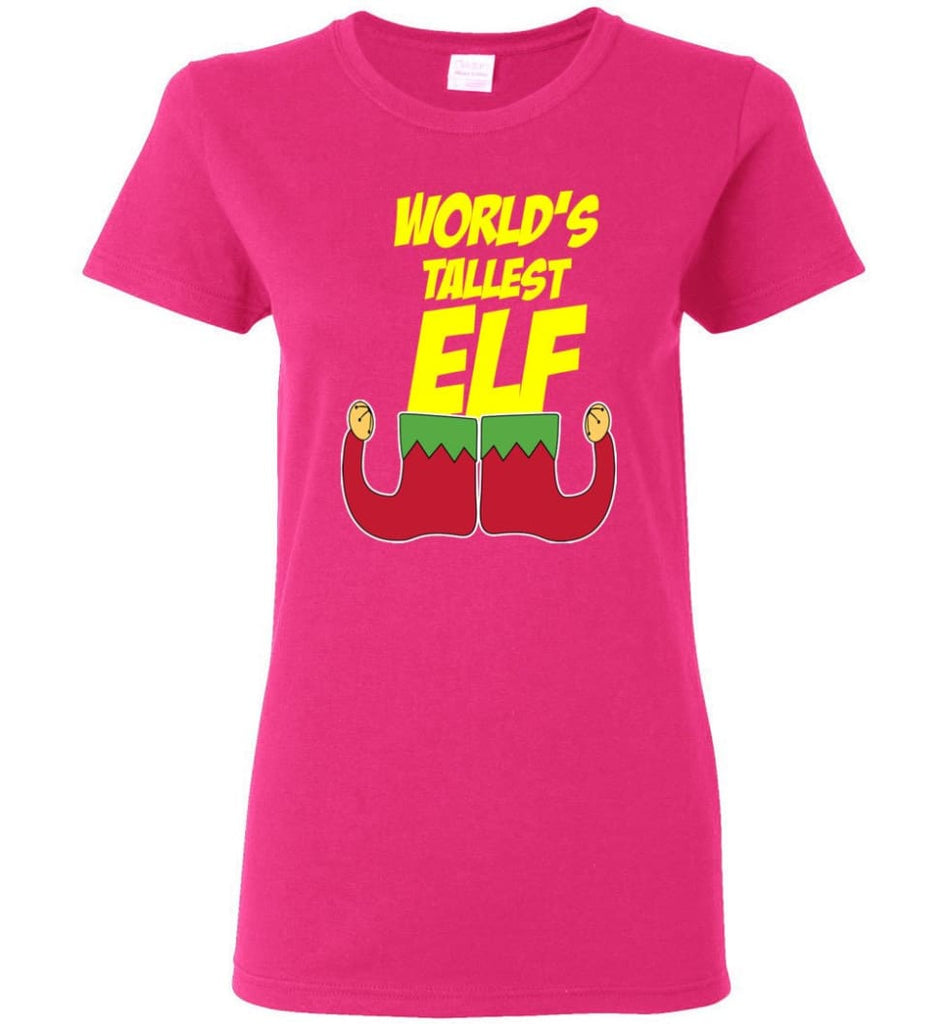 World's Tallest Elf Funny Christmas Women Tee - Heliconia / M