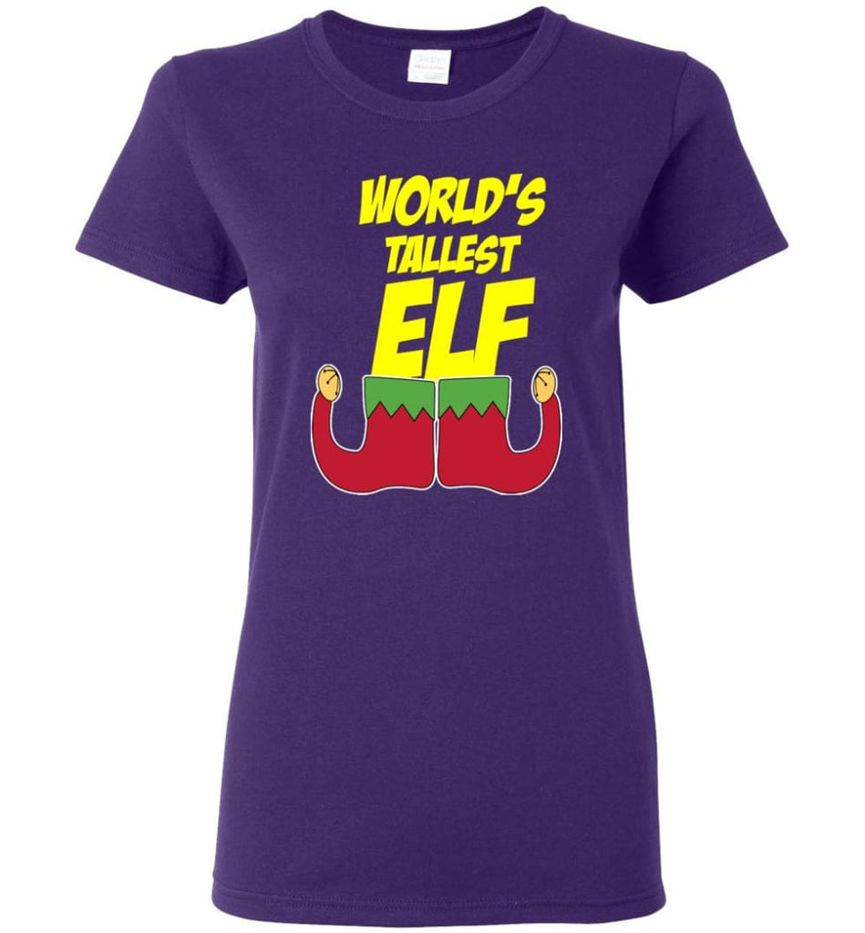 World's Tallest Elf Funny Christmas Women Tee - Purple / M