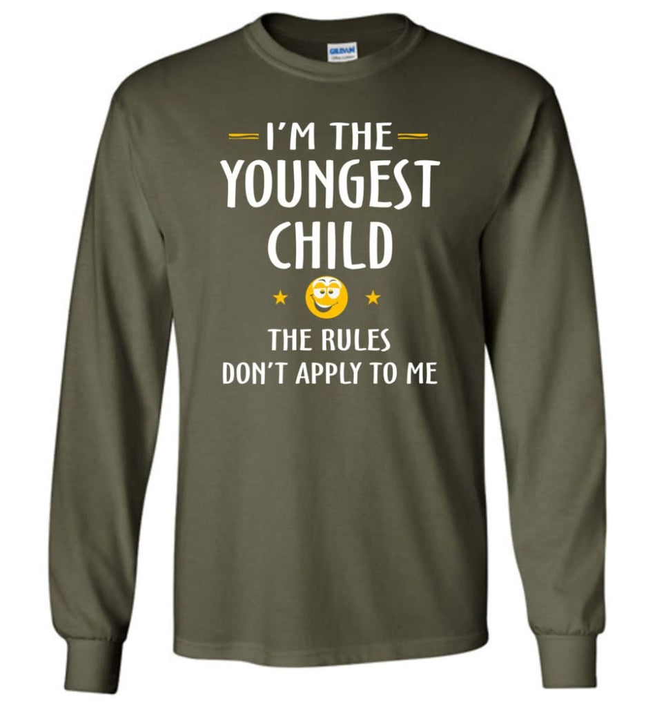 Youngest Child Shirt Funny Gift For Youngest Child Long Sleeve T-Shirt - Military Green / M