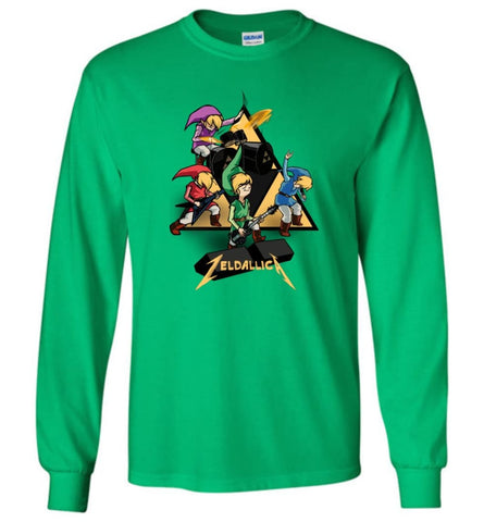 Zeldallica T shirt Zelda Link Metalli ca T shirt Video Game And Music True Fasn - Long Sleeve T-Shirt - Irish Green / M
