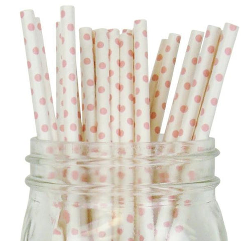 100 Paper Straws - Pink dots