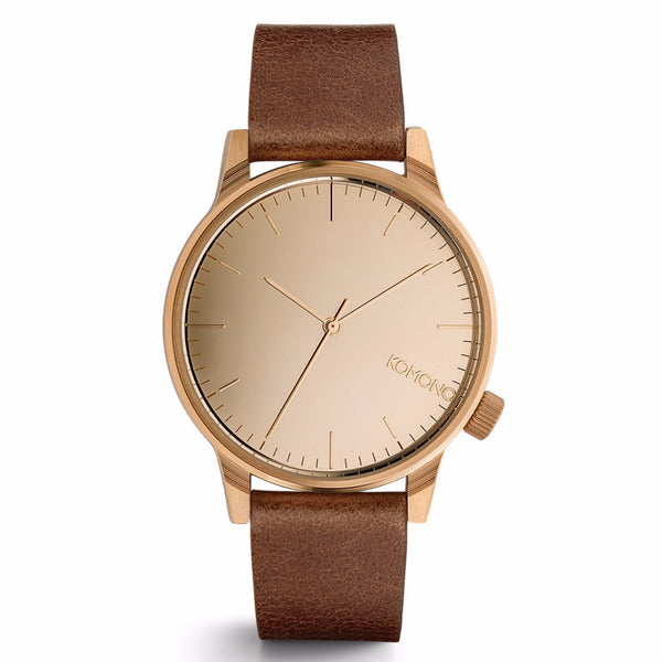 Winston Mirror Watch Rose Gold/Cognac - MERCURI