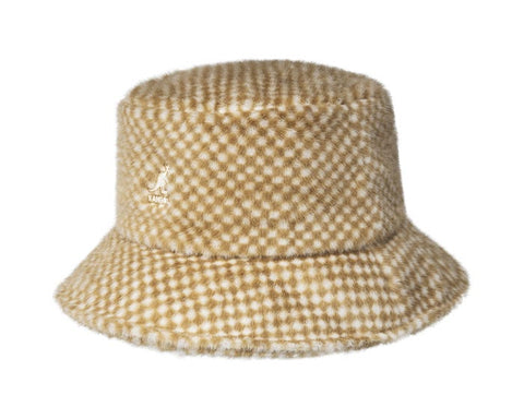 Kangol Faux Fur Hat  - Tan Checkered