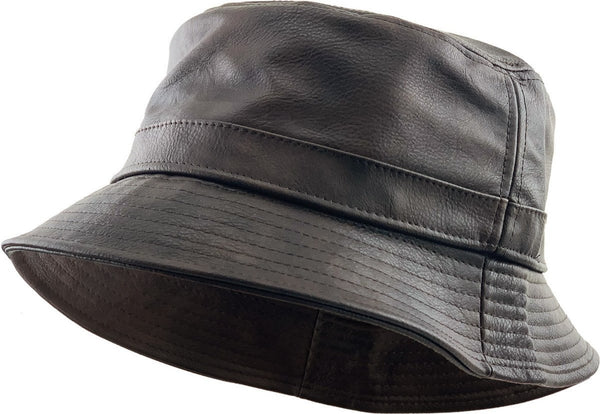 PU Leather Bucket Hat - Brown