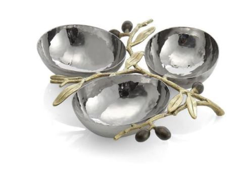 Olive Branch Gold Triple Compartment Dish