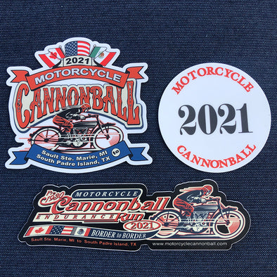 2021 Motorcycle Cannonball Sticker Pack