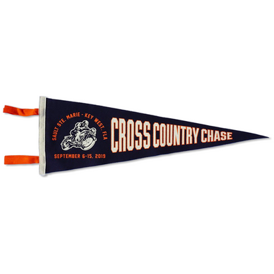 2019 Cross Country Chase Blue Horizontal Wool Pennant Sault Ste Marie, MI to Key West, FL