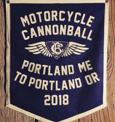 2018 Motorcycle Cannonball Portland, Maine to Portland, Oregon Handmade Wool Banner.