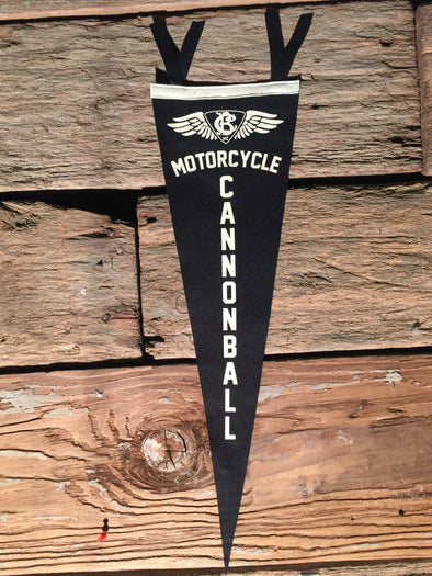 Motorcycle Cannonball Wool Pennant Large Vertical