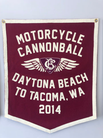 2014 Motorcycle Cannonball Handmade Wool Banner:  Daytona Beach, FL to Tacoma, WA