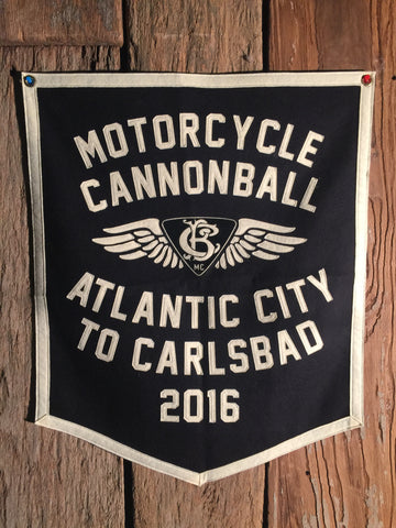 2016 Motorcycle Cannonball Atlantic City, NJ to Carlsbad, CA Handmade Wool Banner.