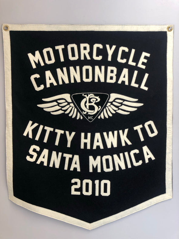2010 Motorcycle Cannonball Handmade Wool Banner:  Kitty Hawk, NC to Santa Monica, CA