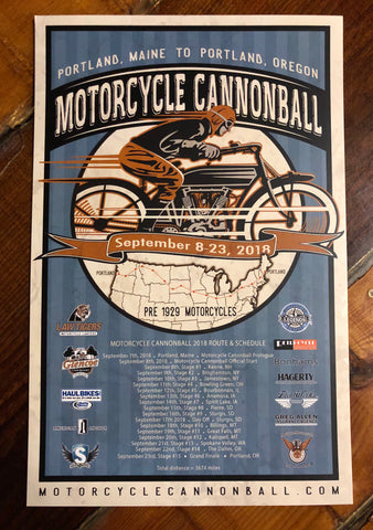 Official 2018 Motorcycle Cannonball Event Poster