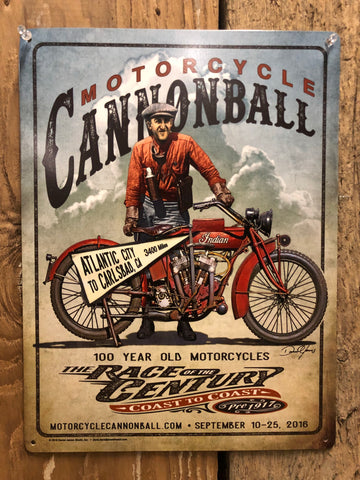 Limited Edition 2016 Motorcycle Cannonball Tin Sign 12x16