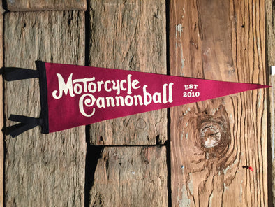Motorcycle Cannonball Wool Pennant Large