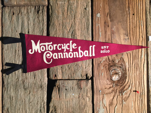 Large Motorcycle Cannonball Wool Pennant