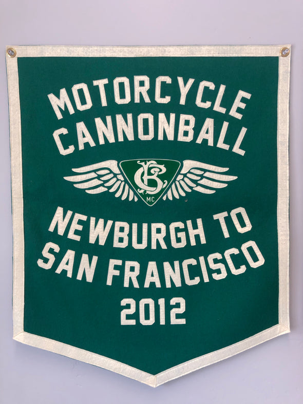 2012 Motorcycle Cannonball Handmade Wool Banner:  Newburgh, NY to San Francisco, CA