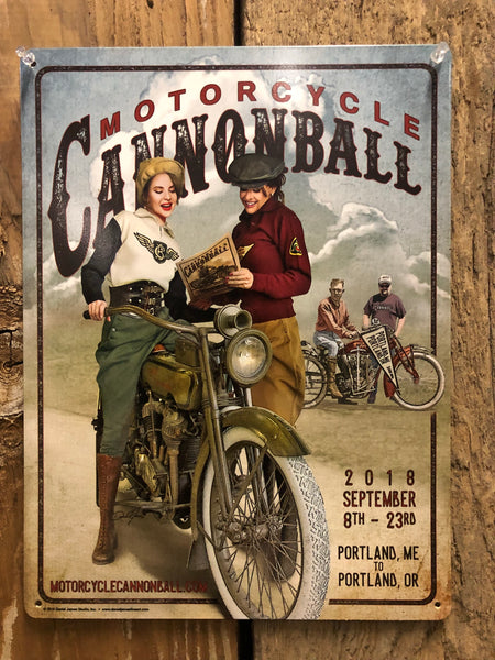 "2018 Motorcycle Cannonball Tin Sign 12x16 ""Limited Edition"""