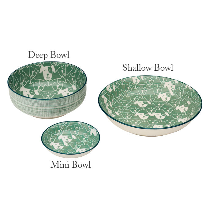 Patch the Dog - Deep Ceramic Bowl in Green