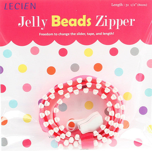 Jelly BEADS Zipper – White & Pink (20)