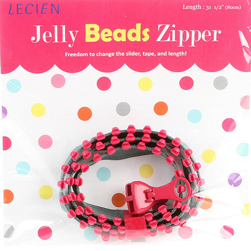 Jelly BEADS Zipper – Grey & Hot Pink (21)