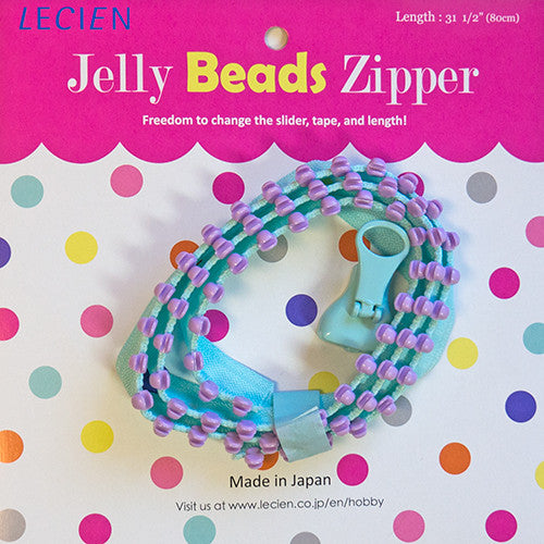 Jelly BEADS Zipper – Aqua & Lavender (70)