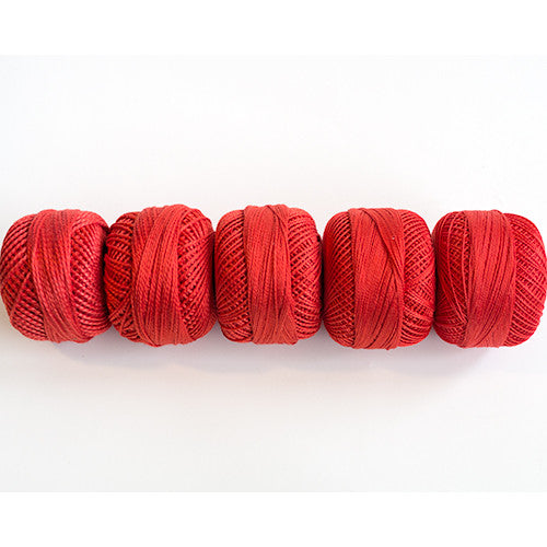 Perle Cotton 5-Size Thread Pack – Orange-Red