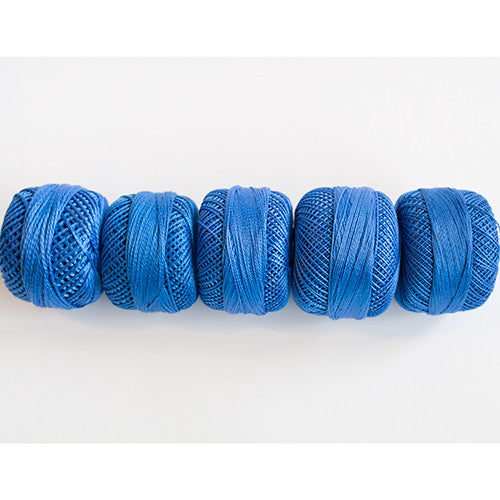 Perle Cotton 5-Size Thread Pack – Medium Blue