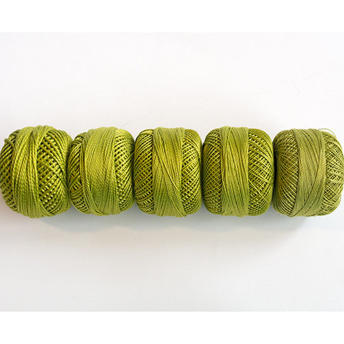 Perle Cotton 5-Size Thread Pack – Medium Yellow-Green