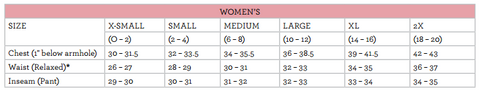 ladies size chart