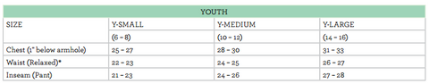 youth size chart
