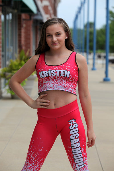 Red Glitter - Custom Crop Tank